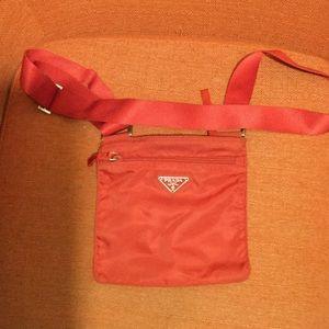 Authentic 1990s Red Nylon Crossbody Prada Bag